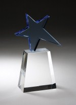 CRY242 Optical Crystal - Blue Star on Clear Base