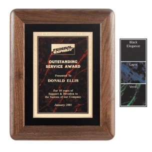 Gemstone Plate on Radius Edged Walnut Frame Plaque