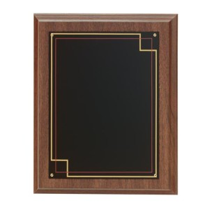 Walnut Finish Plaque with Screened Red and Gold Border Plate