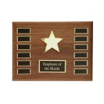 P1330 24K Gold Star Walnut Perpetual Plaque