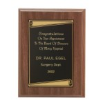 Walnut Finish Plaque with Screened Scroll